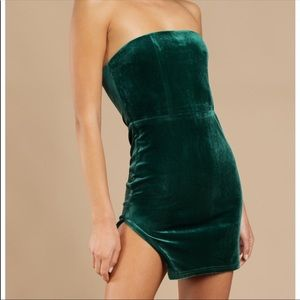 Emerald Green Strapless Bodycon Dress